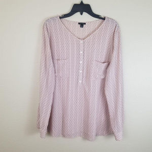Ann Taylor l Nude Color Dots Long Sleeves Blouse